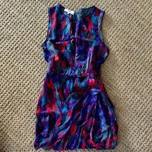 TIBI silk chiffon painterly draped mini dress